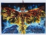 Feather Phoenix by Maisie Parker, Artist Print, A collograph plate