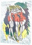Girl's Night Out by Maisie Parker, Artist Print, Reduction Lino Print.