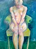 Green Chair by Maisie Parker, Painting, Oil on Paper