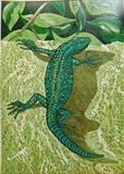 Lizard Too by Maisie Parker, Artist Print, Eight colour reduction print