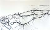 Reclining Dancer by Maisie Parker, Drawing, Charcoal on Paper
