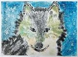 Winter wolf by Maisie Parker, Artist Print, Collagraph